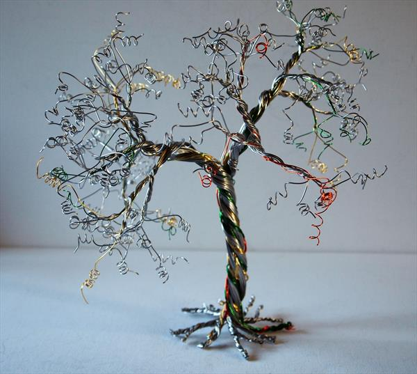 Yellow, Green, Orange & Silver, Tree Sculpture by Steph Morgan