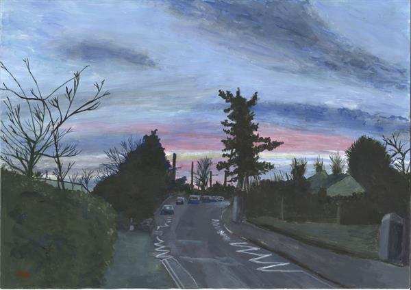 Totnes Road, South Brent, autumn sunrise by John Van Der Kiste