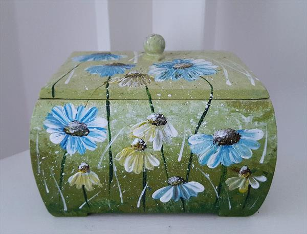 Blue Daisies, Jewelry Box, Hand Painted, Acrylic on Wooden Box by Cinzia Mancini