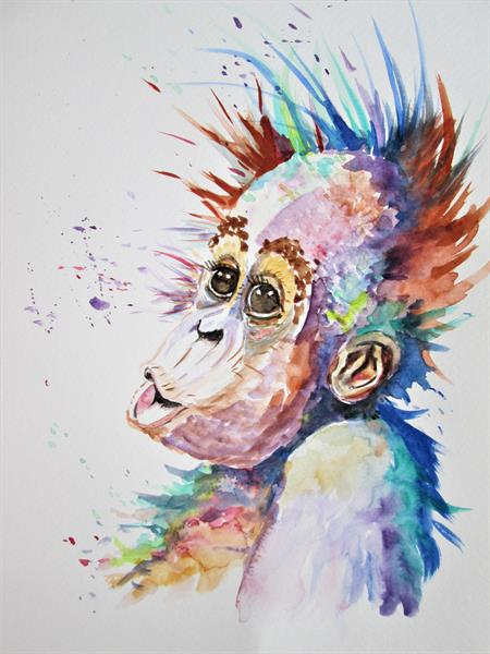 Baby Orangutan Monkey by Marjan's Art