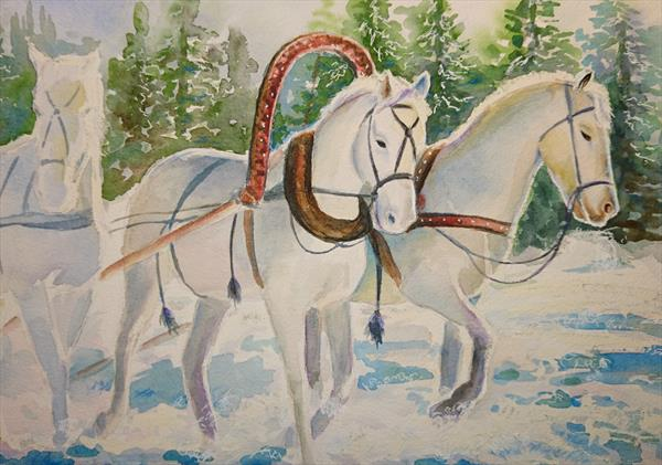 Winter horses troika race Christmas Snow abstract art Watercolour Artist paper Winsor & Newton A3 by Elena Haines