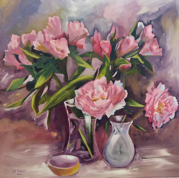 Peonies & Inca Lilies (Square floral painting)  by Marjory Sime