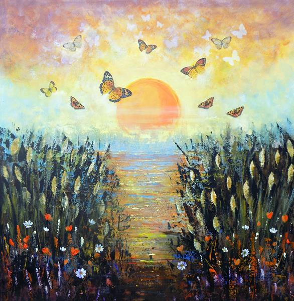 Sunrise on the lake - large landscape, butterflies wildflowers lake, sky, sun by Areti Ampi