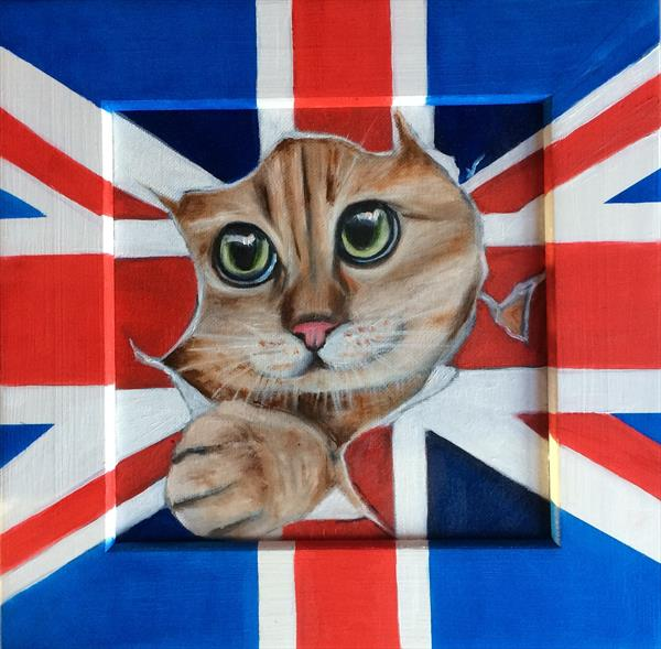 British cat. Painting in frame by Ira Whittaker
