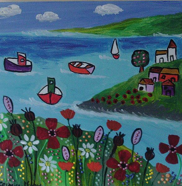 Naive seascape with wild flowers  by Casimira Mostyn