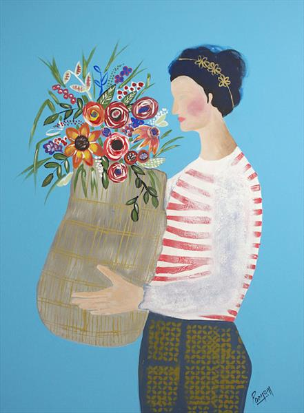 Fashionista - A girl with flower basket  by Poonam choudhary