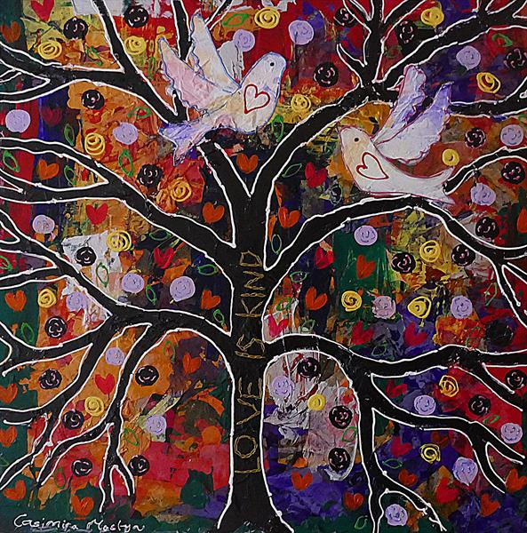 Two Doves on the Tree of Kindness by Casimira Mostyn
