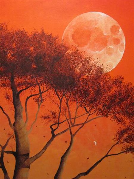 Autumn Moon Acrylic Painting 20'' x 30'' by Barry John Gray