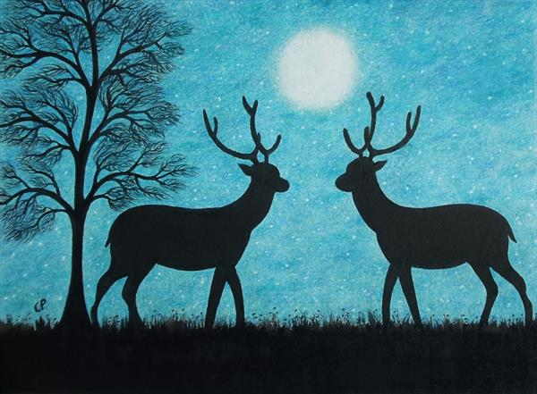 Deer Silhouette (Framed) by Claudine Peronne