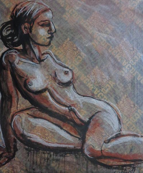 Propped 2a - Female Nude by Carmen Tyrrell