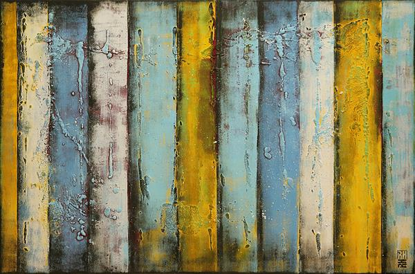 Abstract Painting - Turquoise Blue Striped Panels - C11 by Ronald Hunter
