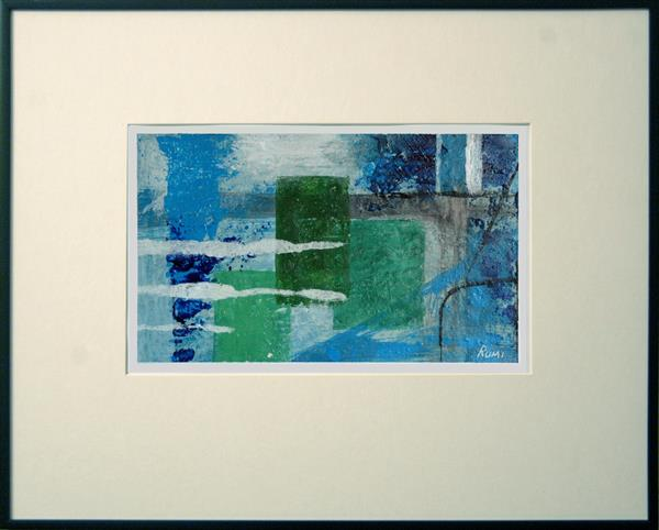 Abstract Variations # 45. Acrylic painting on paper. Framed.