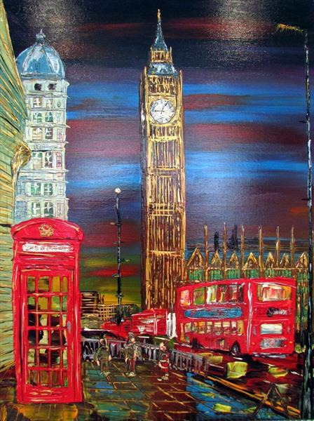 Big Ben and Telephone box by Night