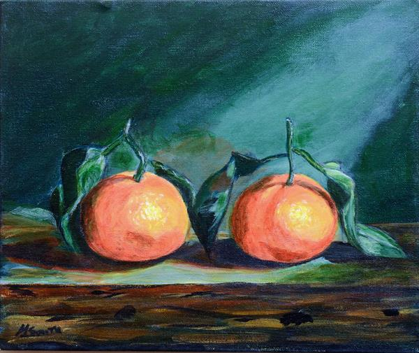 Tangerines Still Life Painting by Helen Smith