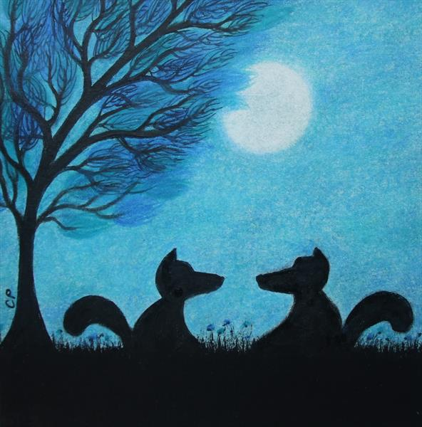 Foxes Silhouette (Framed) by Claudine Peronne
