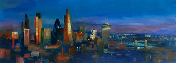 City Purple Dusk Panorama  by Will Smith