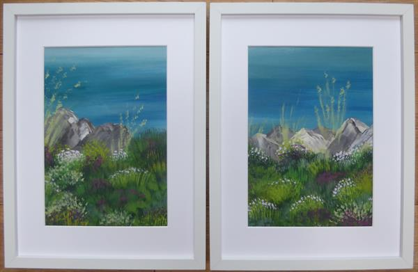 Cornwall coast path diptych by Elaine Allender