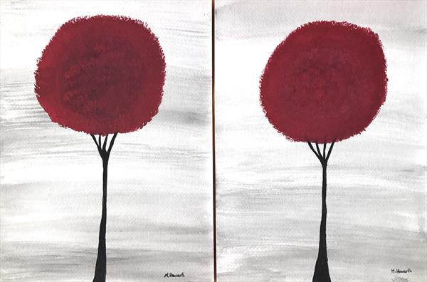 Dark red trees ( set of 2) by Monika Howarth