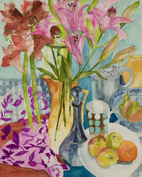 Still Life With Blue Decanter by Caroline Kaye