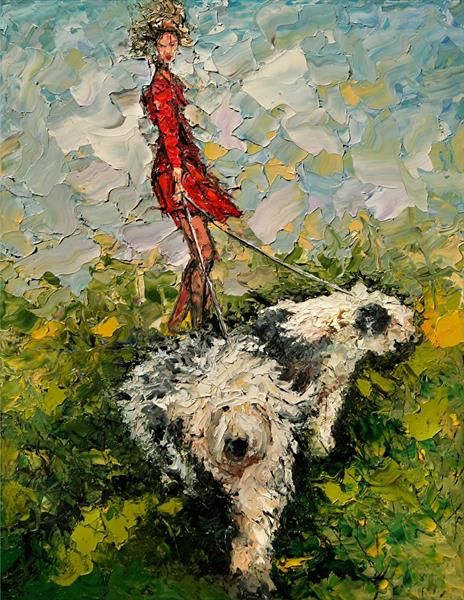 In a Gust, Old English Sheepdogs by Andre Dluhos