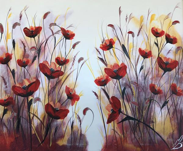 Red and orange poppies by Marja Brown