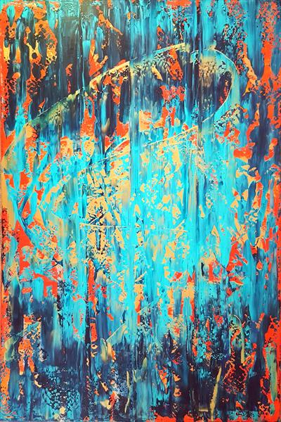 The Sun in the waterfall - XL golden and blue abstract painting by Ivana Olbricht