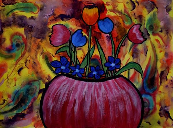 Red bowl with flowers by George Hunter
