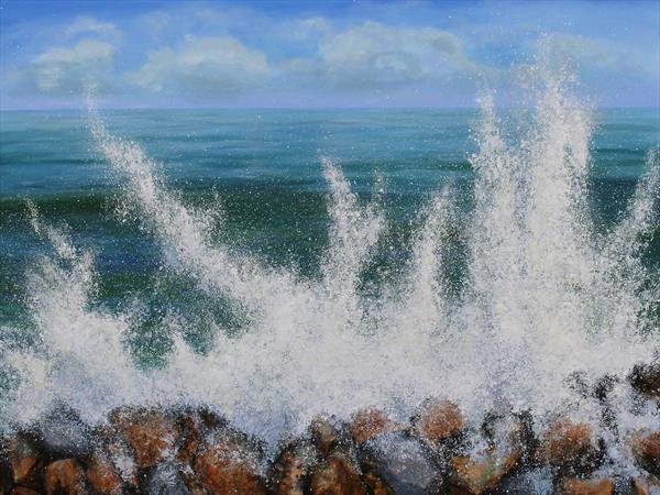 Surf on the rocks by Sandra Francis