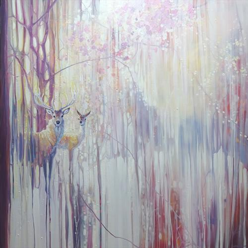 Woodland Born - winter abstract with deer by Gill Bustamante