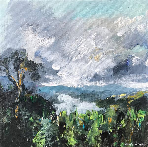 'Lake View' - 15cm x 15cm original landscape by Luci Power