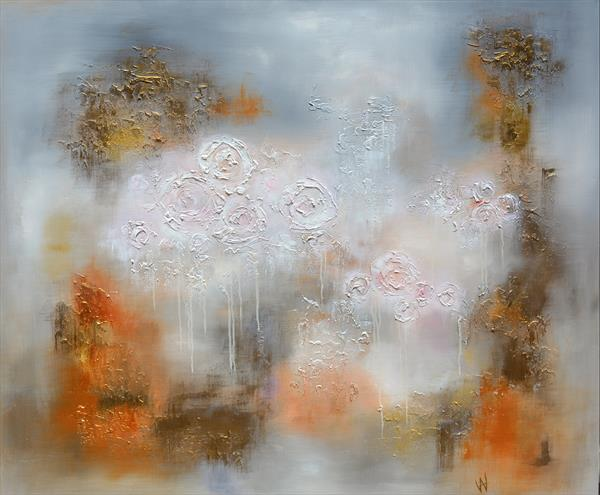 ENCHANTED RICH GARDEN OF ROSES - ATMOSPHERIC FLORAL ABSTRACT by Ada Van