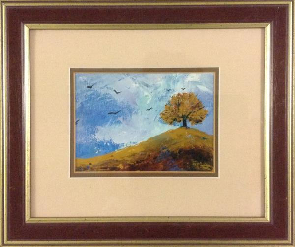 The Lone Elm - Autumn Breeze ( framed original) by Sarah Gill