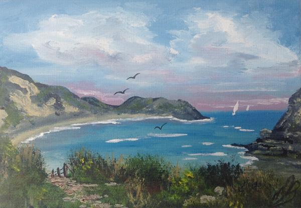 Lulworth Cove on a mini canvas