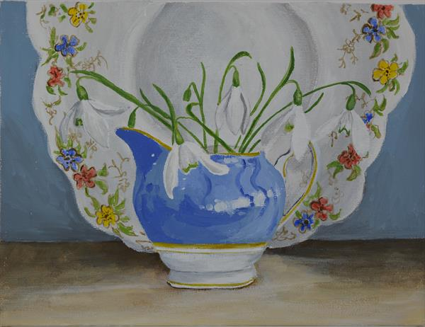 Snowdrops with Blue Jug by Jude Askey-Brown
