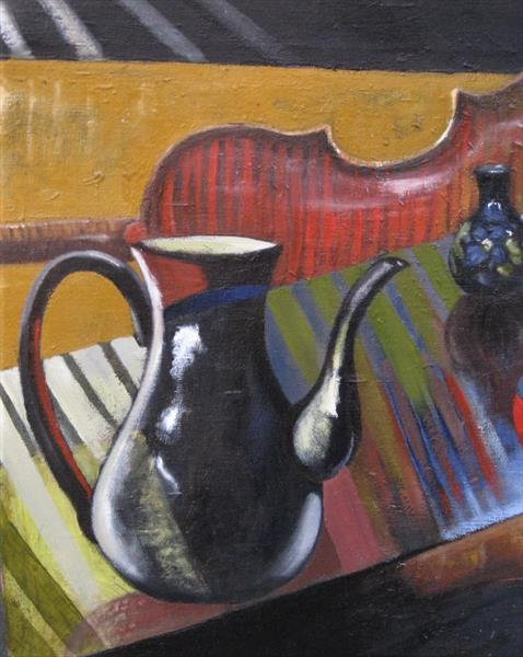 Still Life with Violin and Georgian Coffee Pot by adrian parker