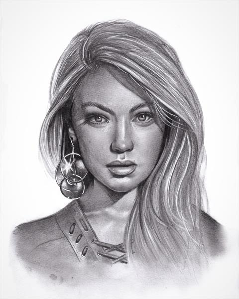 Gigi Hadid portrait drawing  by Max  Eaton