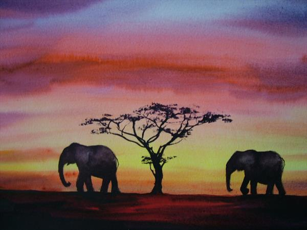 african at sundown
