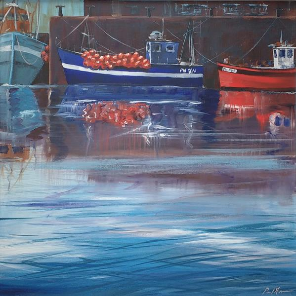 Blue Boat with Floats by Paul Acraman