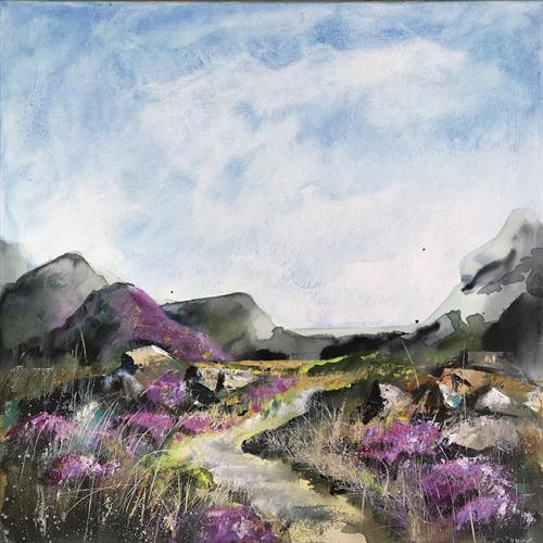Heather Moors #02 - a Moorland landscape, 50 x 50cm by Luci Power