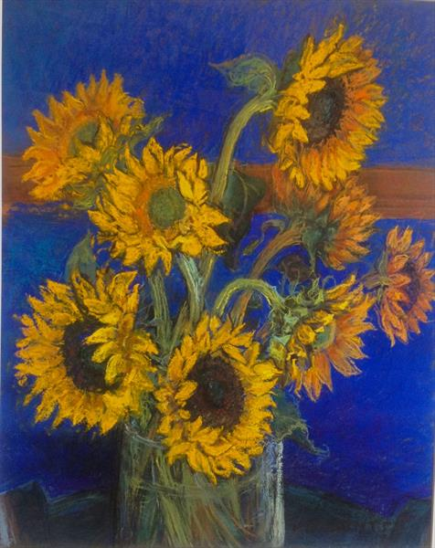 Sunflowers with Colbalt Blue  by Patricia Clements