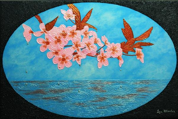 Sakura Soul -japanese cherry blossom semi abstract painting by Liza Wheeler