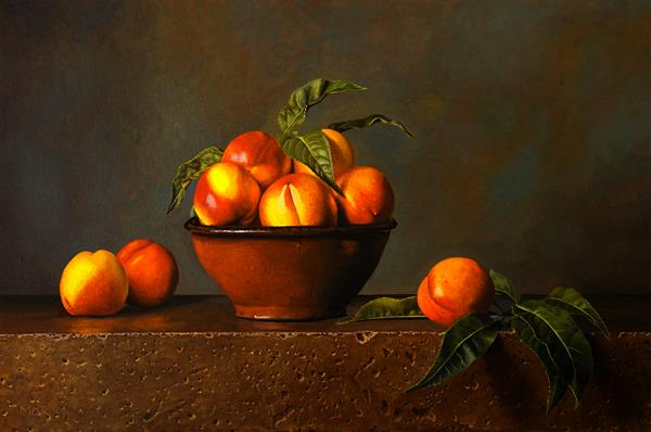 Nectarines and Terracotta Bowl by Dietrich  Moravec