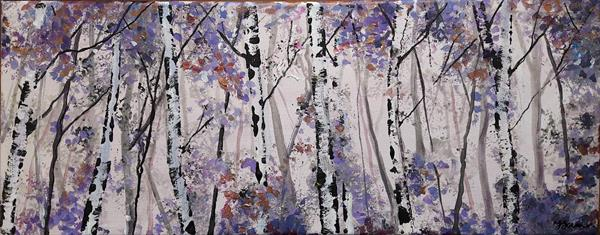 Silver Birches Shades of Violet by Teresa Tanner