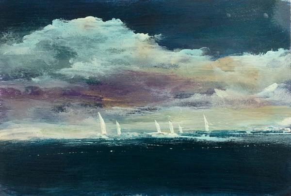 Dark Skies Sombre And Lonely XVI  Seascape With Boats by Maxine Martin