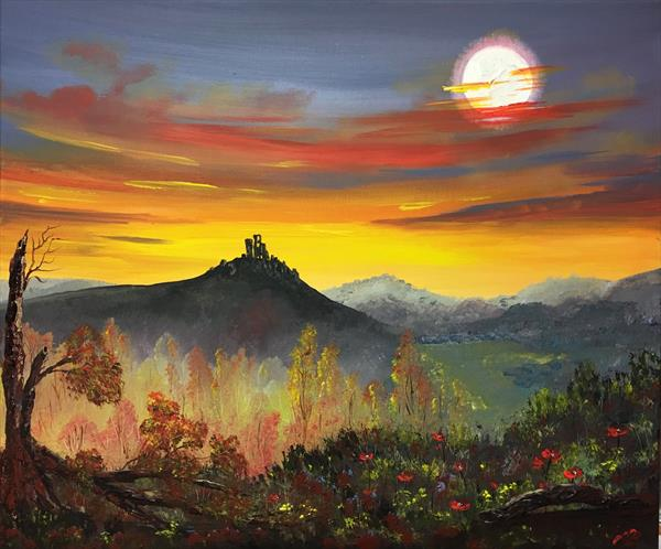 Corfe Castle on a large canvas by Marja Brown