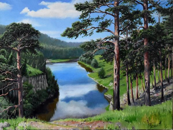 Summer landscape with a view to the river by Serghei Ghetiu