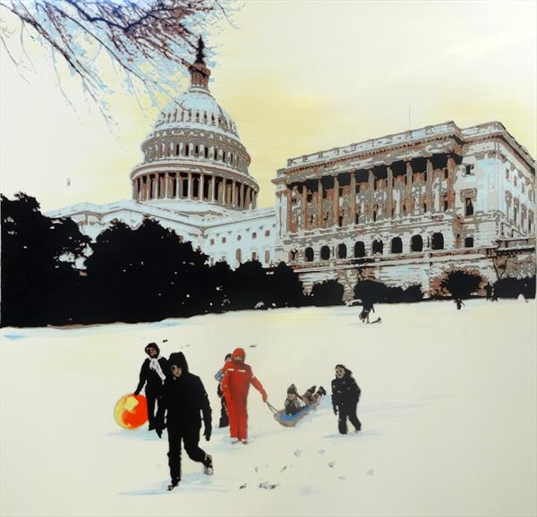 Snow on Capitol Hill by Sue Rowe