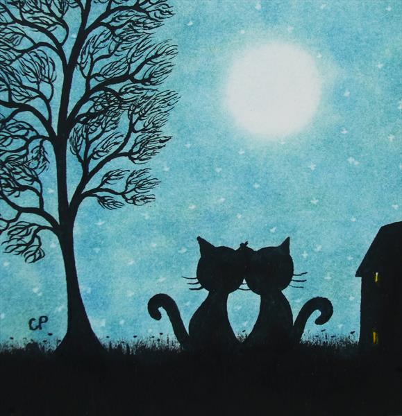 Romantic Cats (Framed) by Claudine Peronne