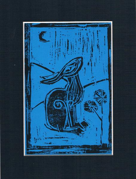 lino cut hare by Maureen Lacey