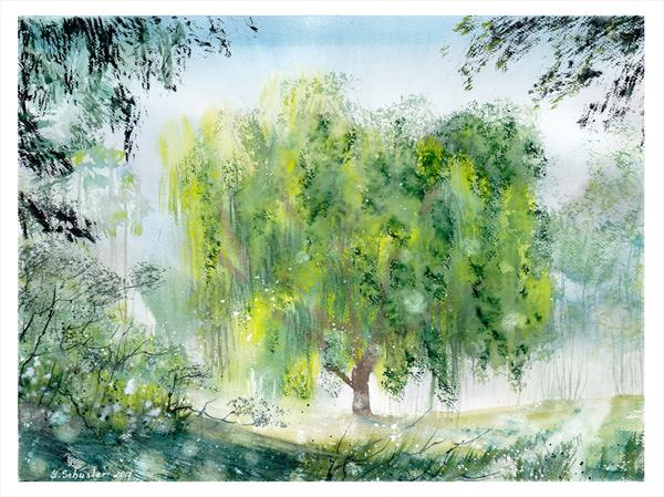 Landscape with a weeping willow tree. # 2. Watercolour landscape painting by Yulia Schuster